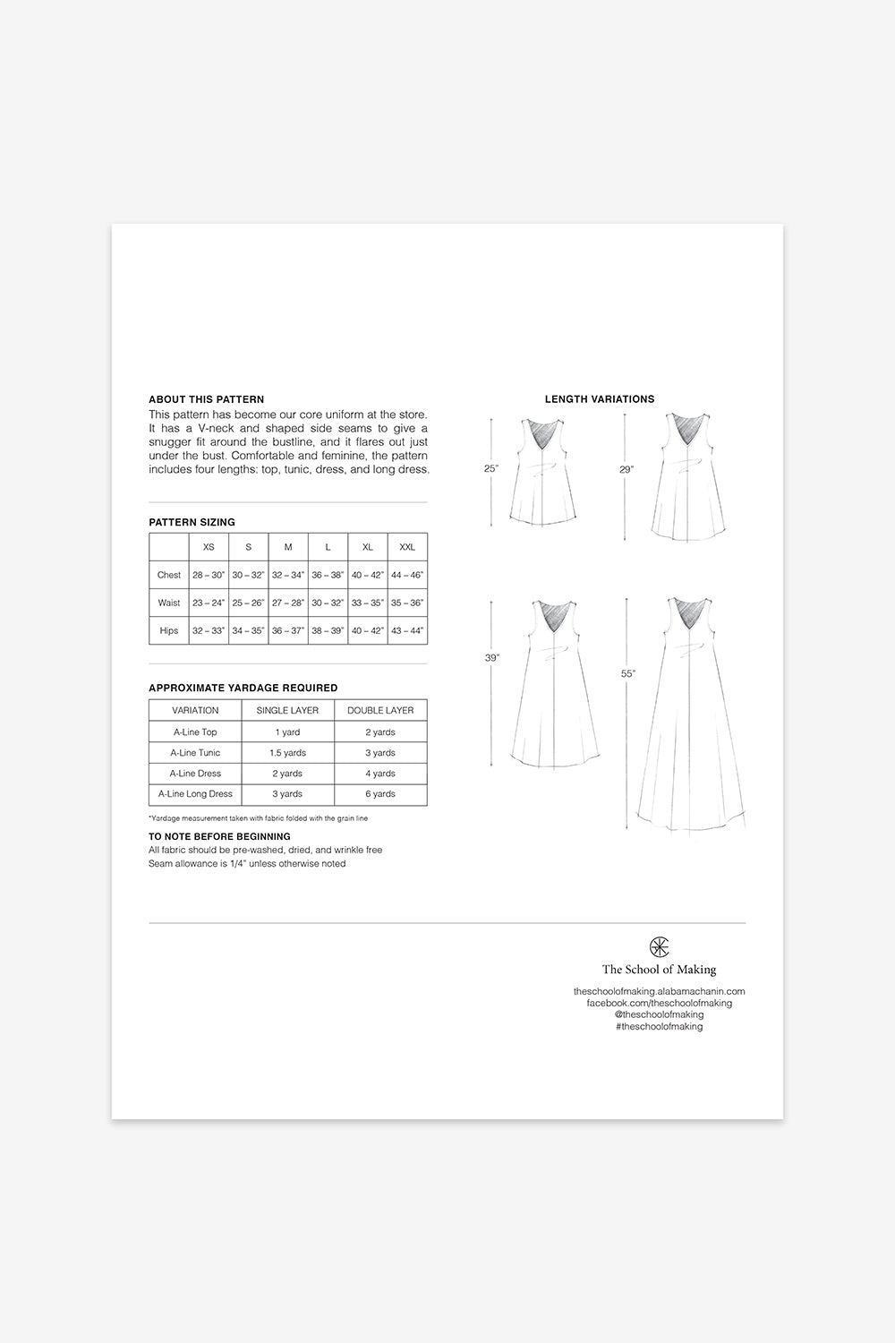 The School of Making The A-Line Dress Pattern Maker Supplies for DIY Projects