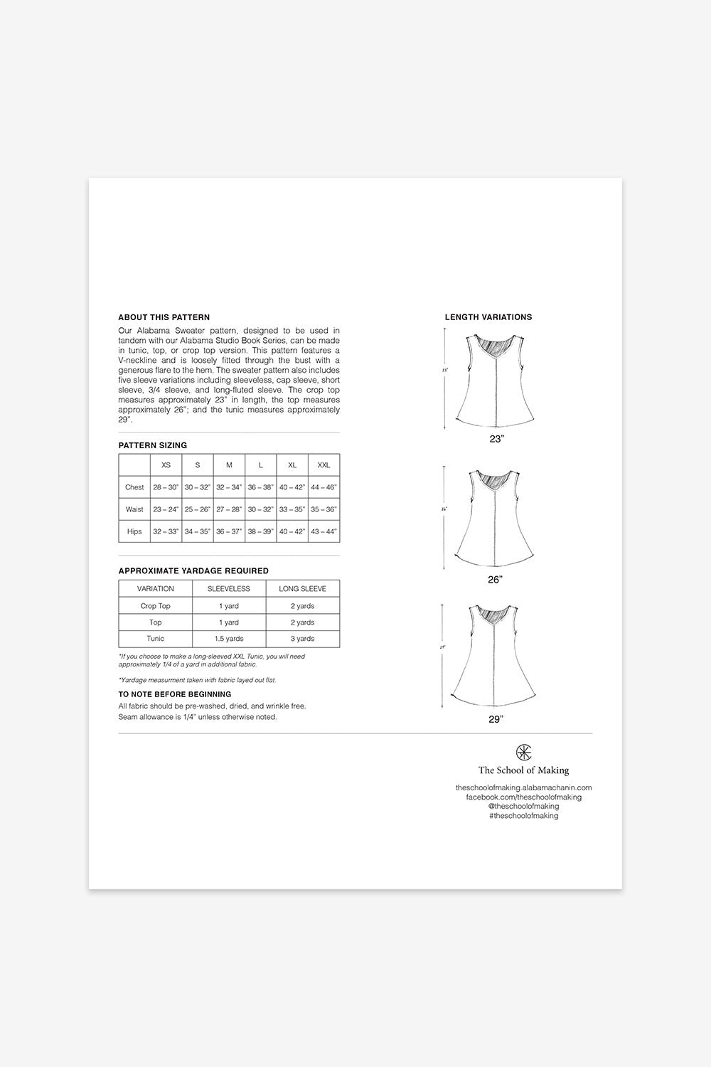 The School of Making Alabama Sweater Pattern Maker Supplies Sewing Pattern with Pattern Sizing and Adjustments