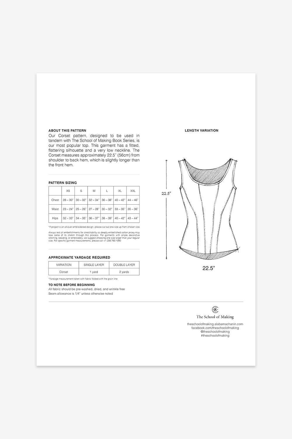 The School of Making The Corset Pattern for Hand-Sewing