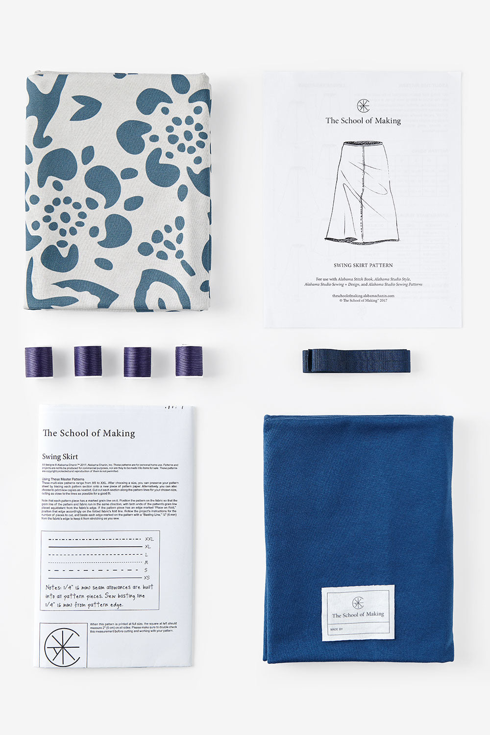 The School of Making The Daisy Bundle Bundle 100% Organic Cotton Printed Fabric and Pattern for Hand Sewing DIY Clothing