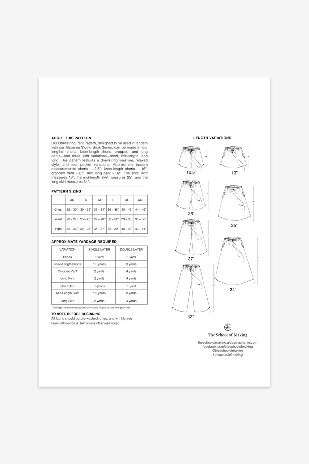 The School of Making The Drawstring Pant Pattern Maker Sewing Supplies