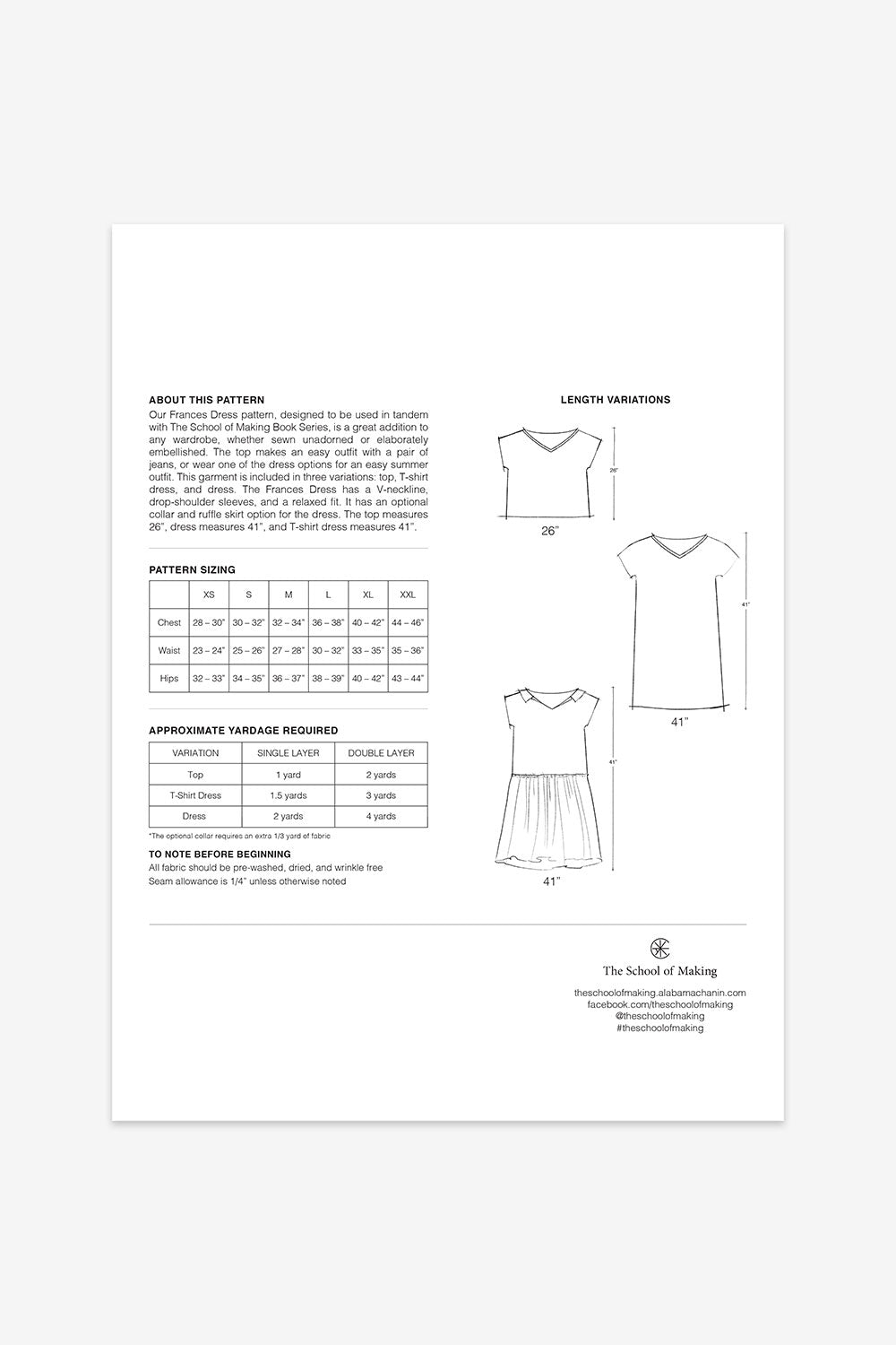 The School of Making Frances Dress Pattern Maker Supplies for Hand-Sewn Clothing