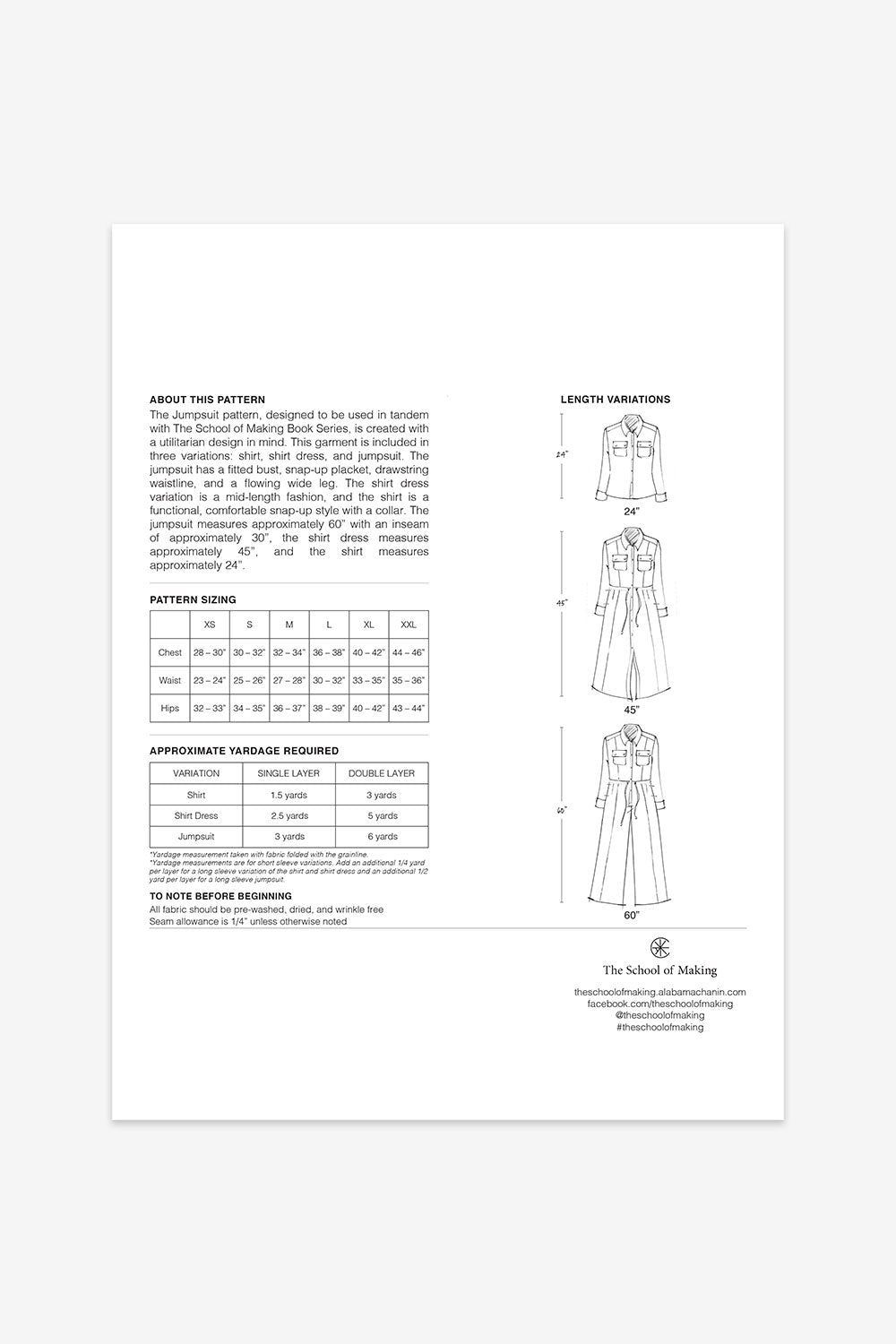 The School of Making The Jumpsuit Pattern with Dress, Shirt and Jumpsuit Pattern Variations