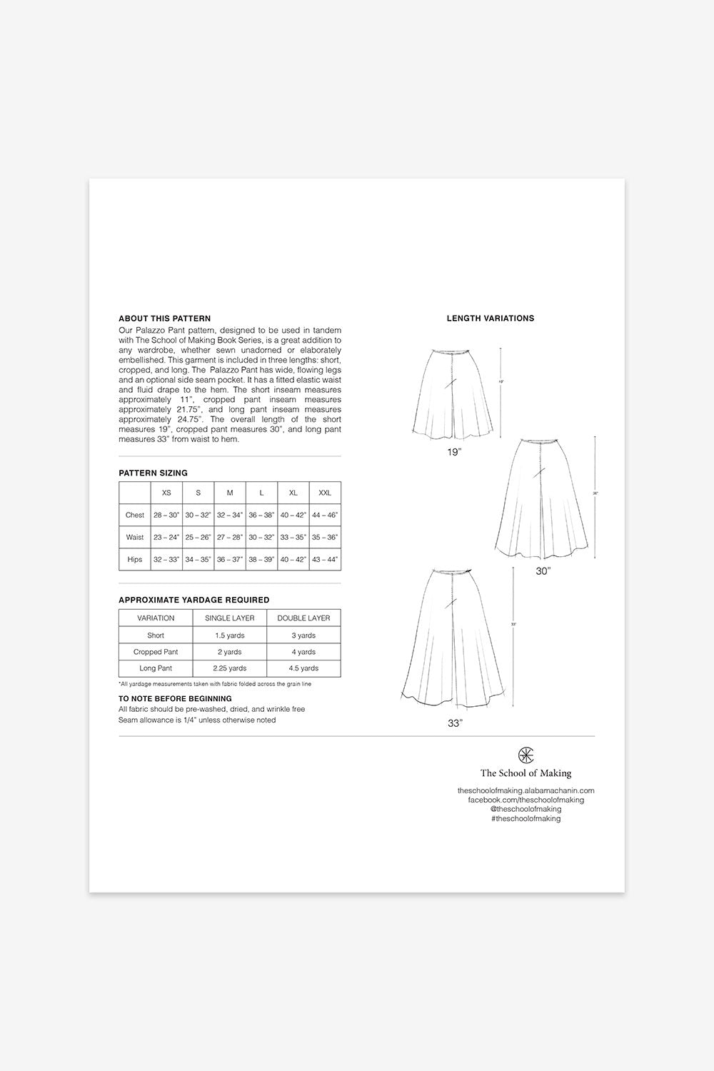 The School of Making The Palazzo Pant Pattern Maker Supplies for DIY Projects