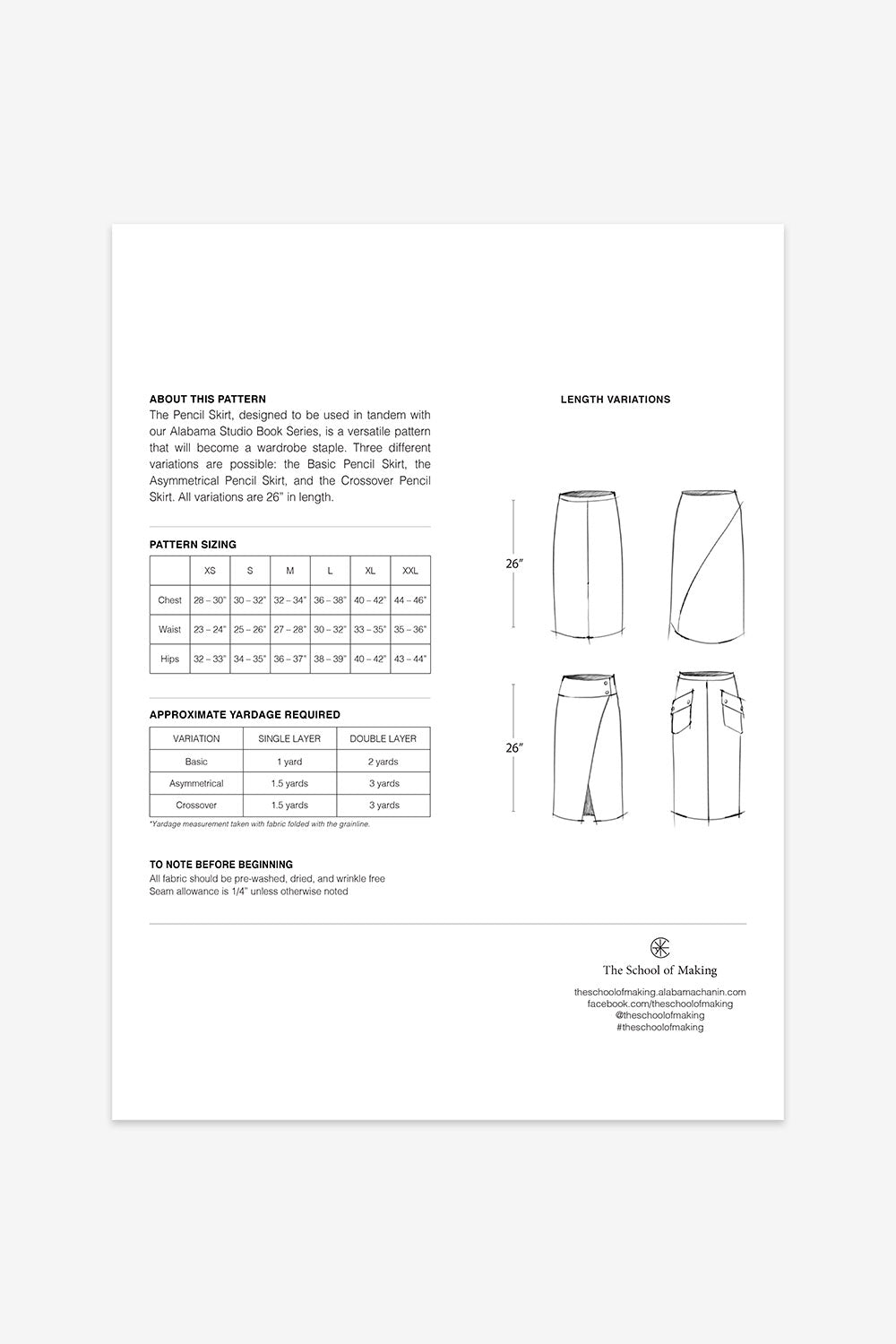 The School of Making The Pencil Skirt Pattern for Hand-Sewn Skirt Project