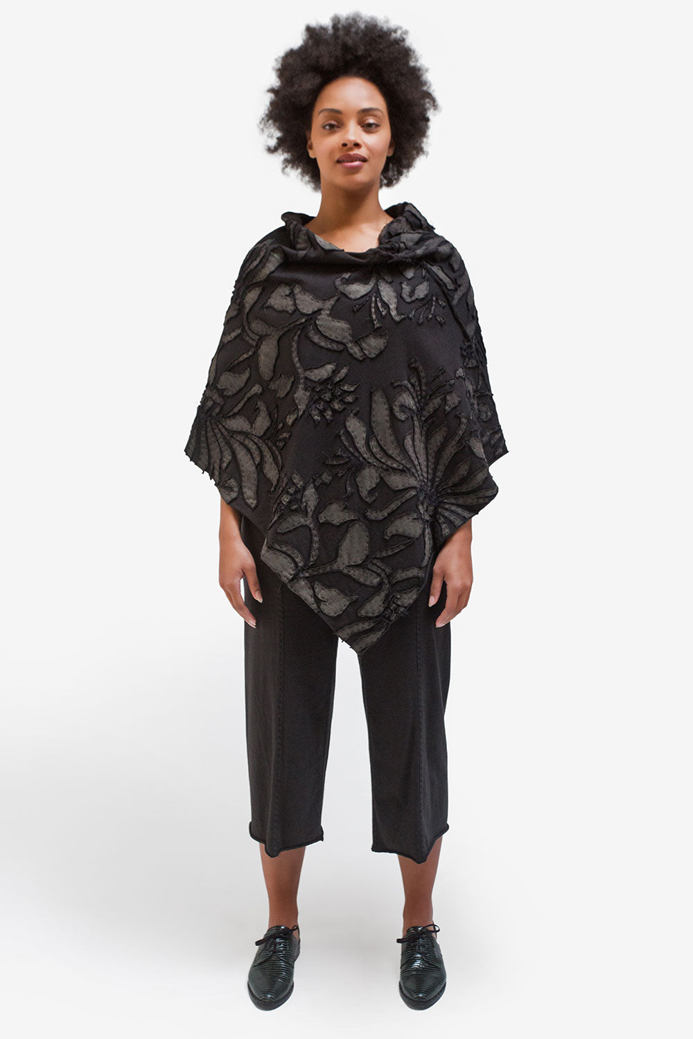 The School of Making The Poncho Kit Hand-Sewn with Floral Pattern and Metallic Textile Paint