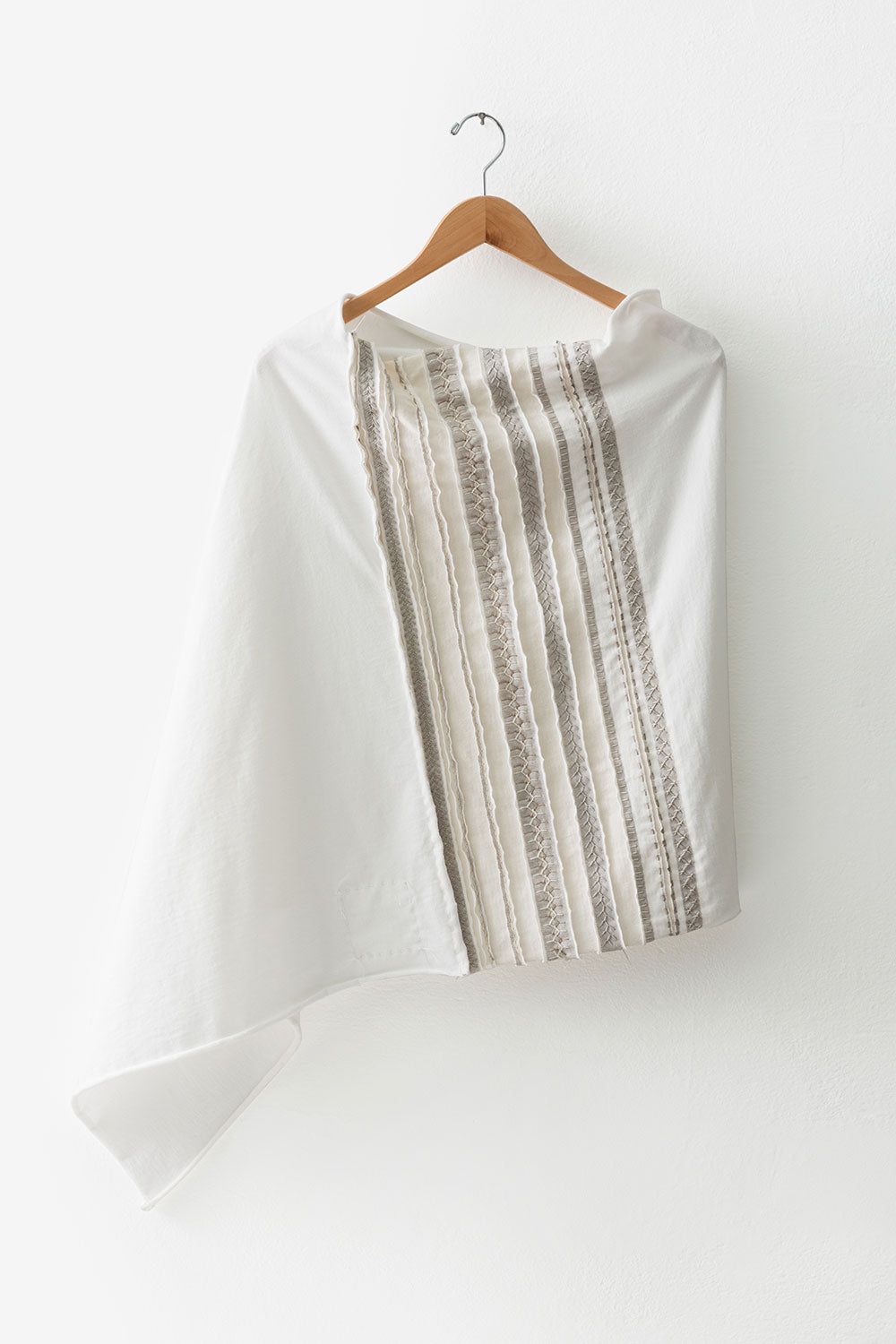 The School of Making Hand-Sewn Stripe Poncho DIY Kit with Natural White Organic cotton