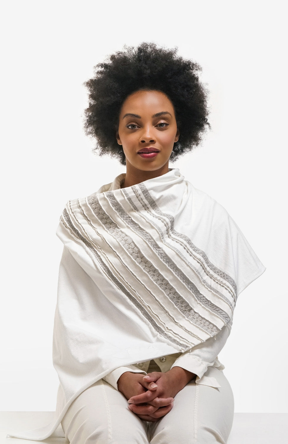 The School of Making Stripe Poncho Kit made with White Organic Cotton