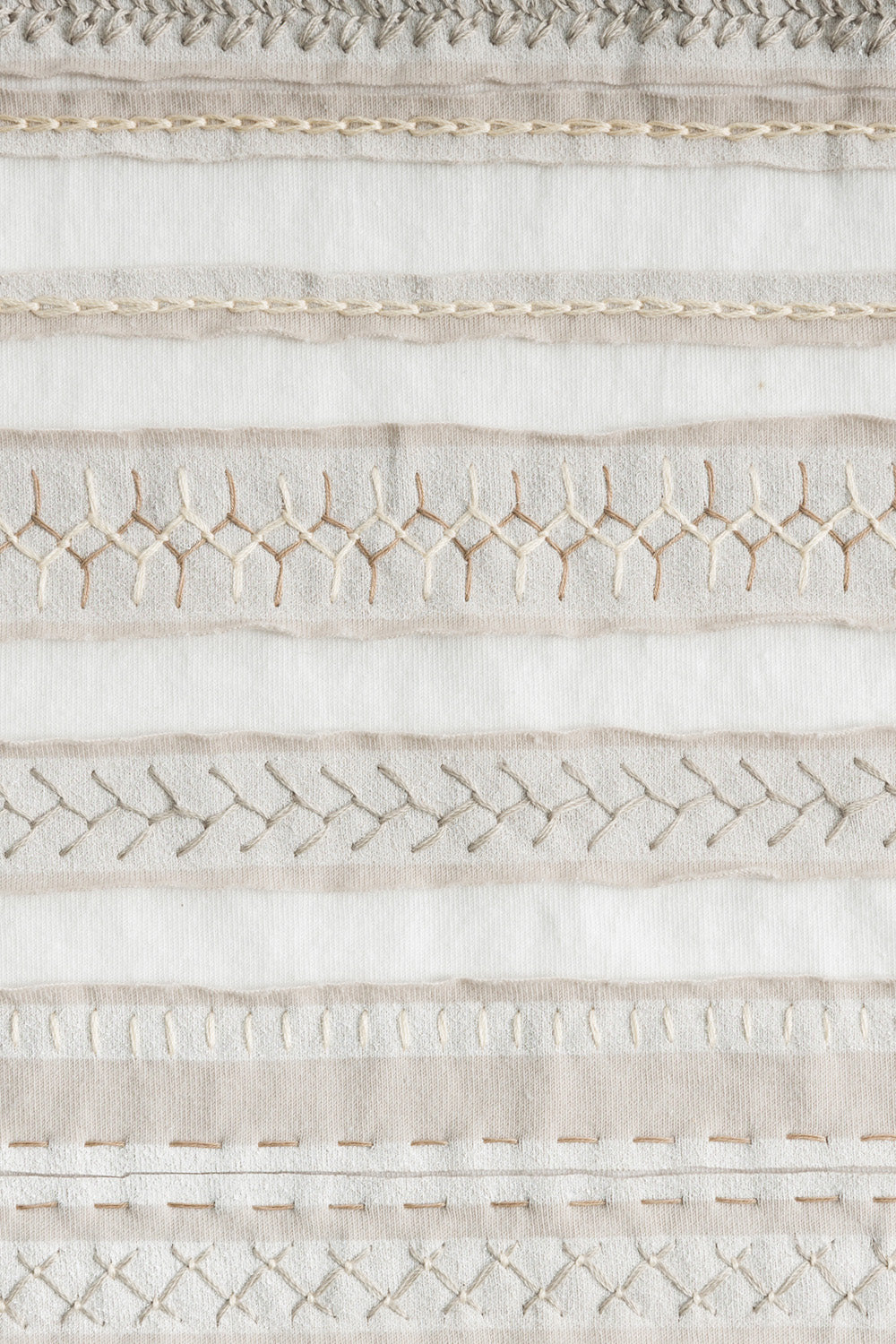 The School of Making Stripe Scarf Kit with Embroidery Stitches White Tan