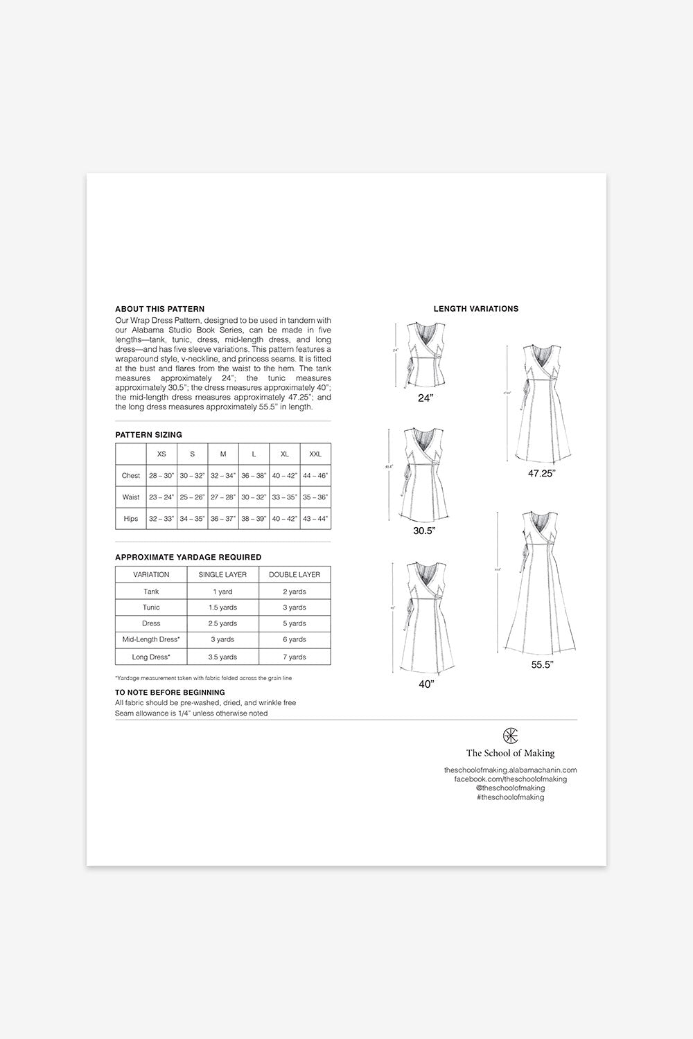 The School of Making The Wrap Dress Pattern for DIY Custom Clothing Projects