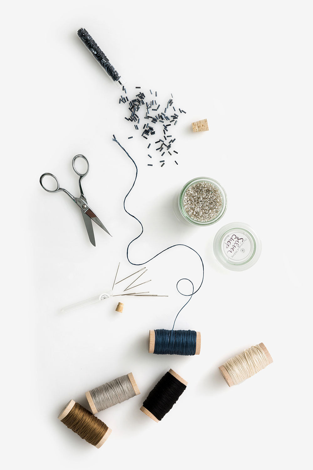 The School of Making Three Day Workshop Supplies Beads, Needles and Scissors