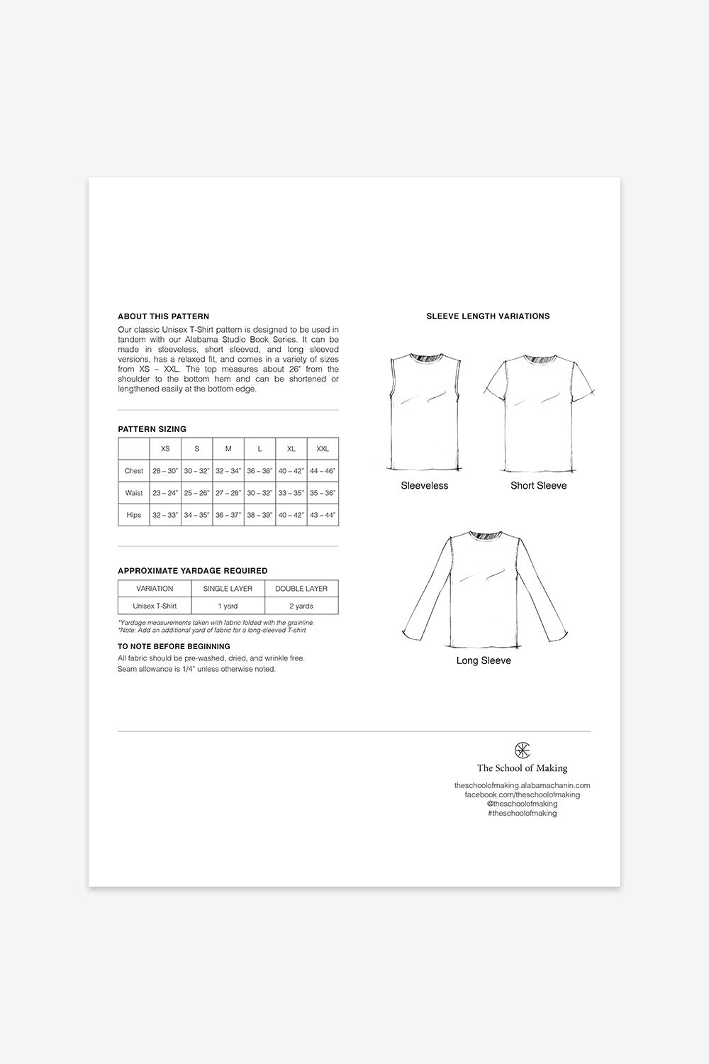 The School of making Unisex T-Shirt Pattern Maker Supplies for Handmade Projects