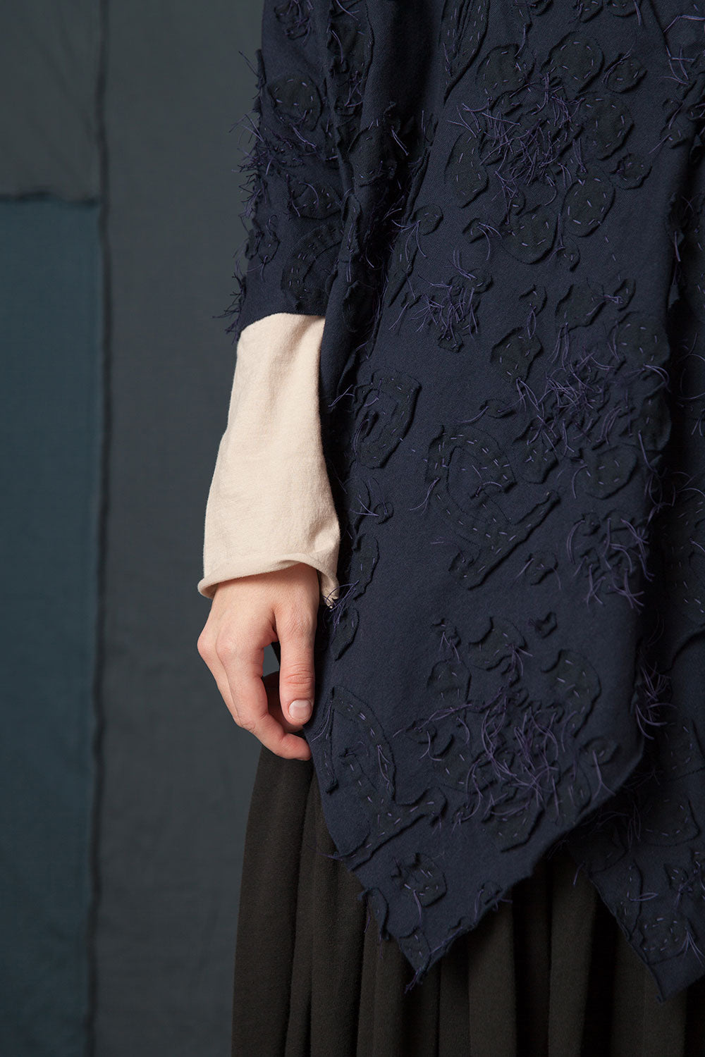 The School of Making Daisy Stencil in Negative Reverse on coat in Navy on Navy colorway