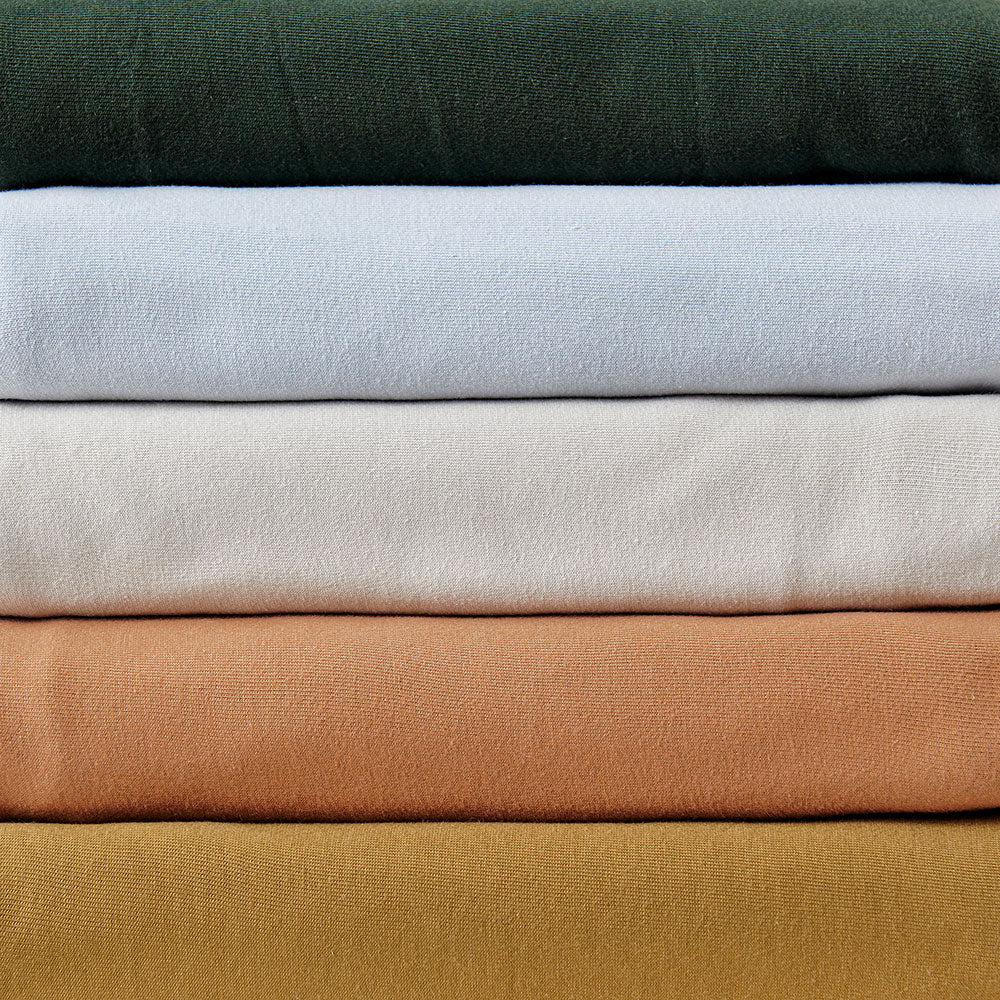 The School of Making Color Palette Bundle in Forest, Baby Blue, Sand, Camel, and Ochre in 100% Organic Cotton Jersey