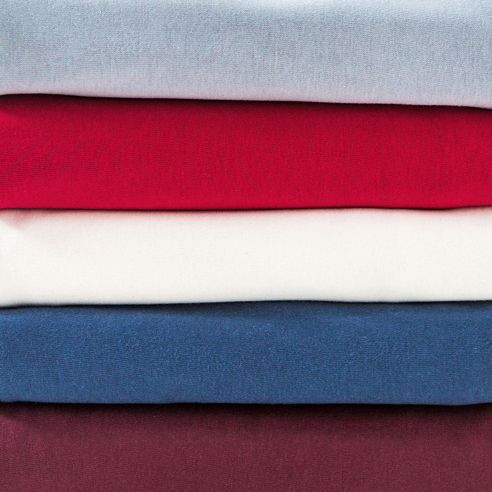 The School of Making Color Palette Bundle in Dove, Carmine, White, Peacock, and Plum in 100% Organic Cotton Jersey