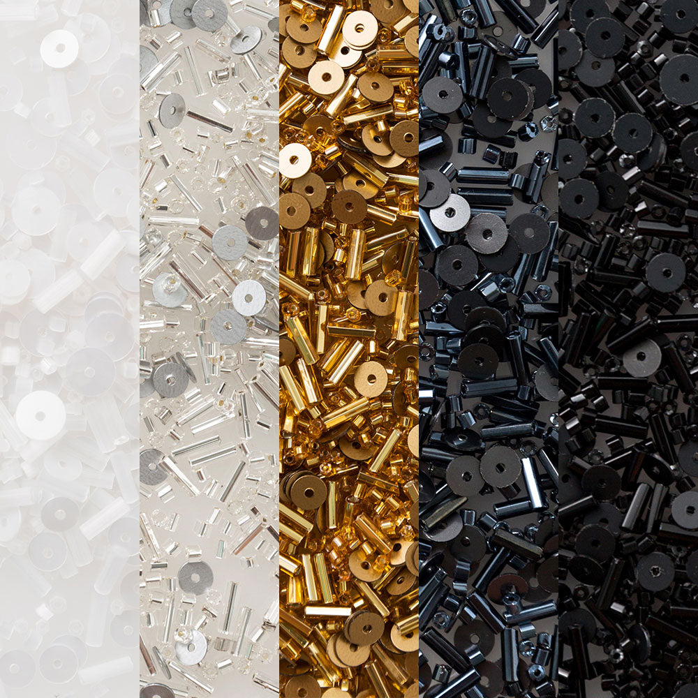 The School of Making Bead Mix Sampler for DIY Crafts in White, Gold and Black