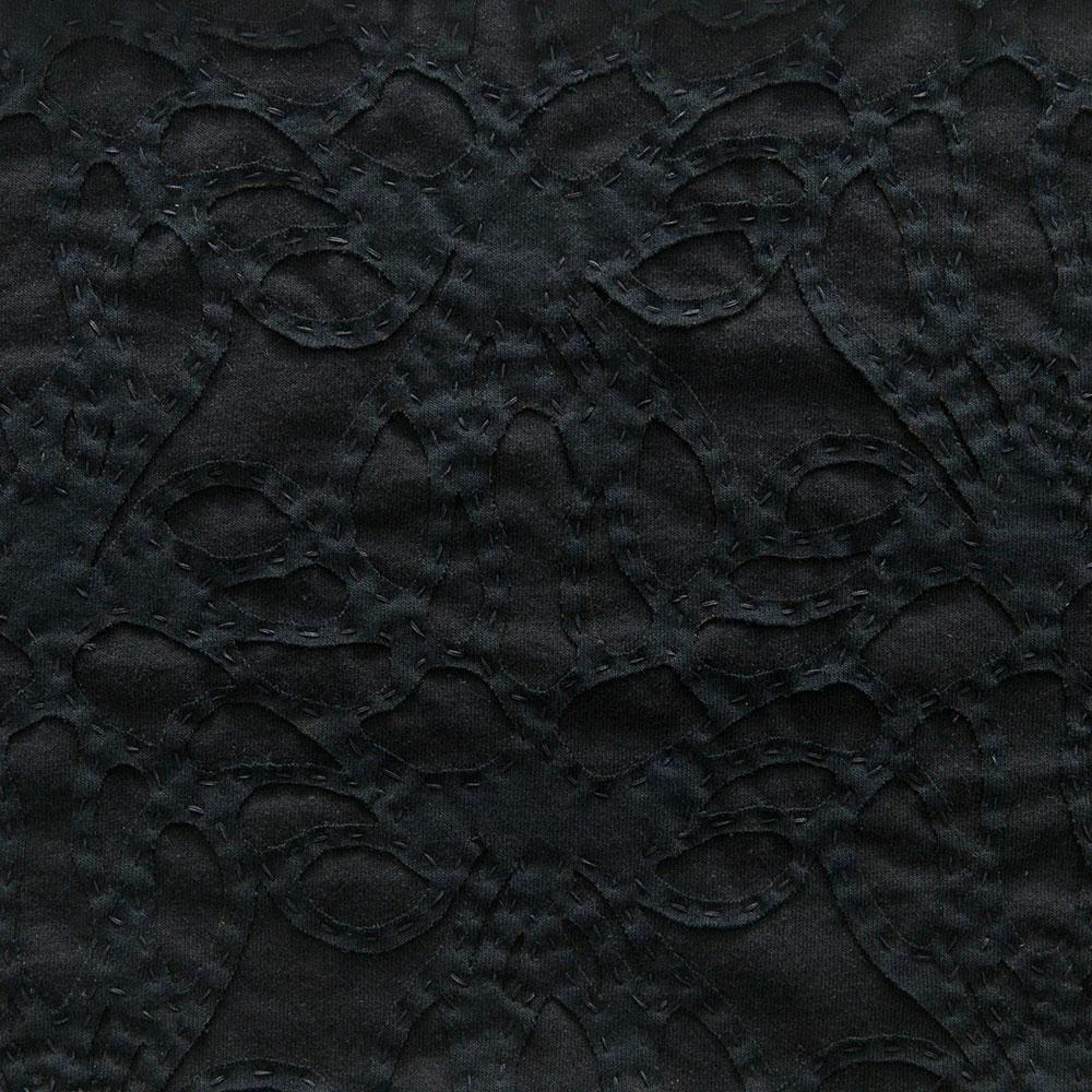 Alabama Chanin 100% Organic Cotton Jersey in Black with Black Lace-Inspired Applique