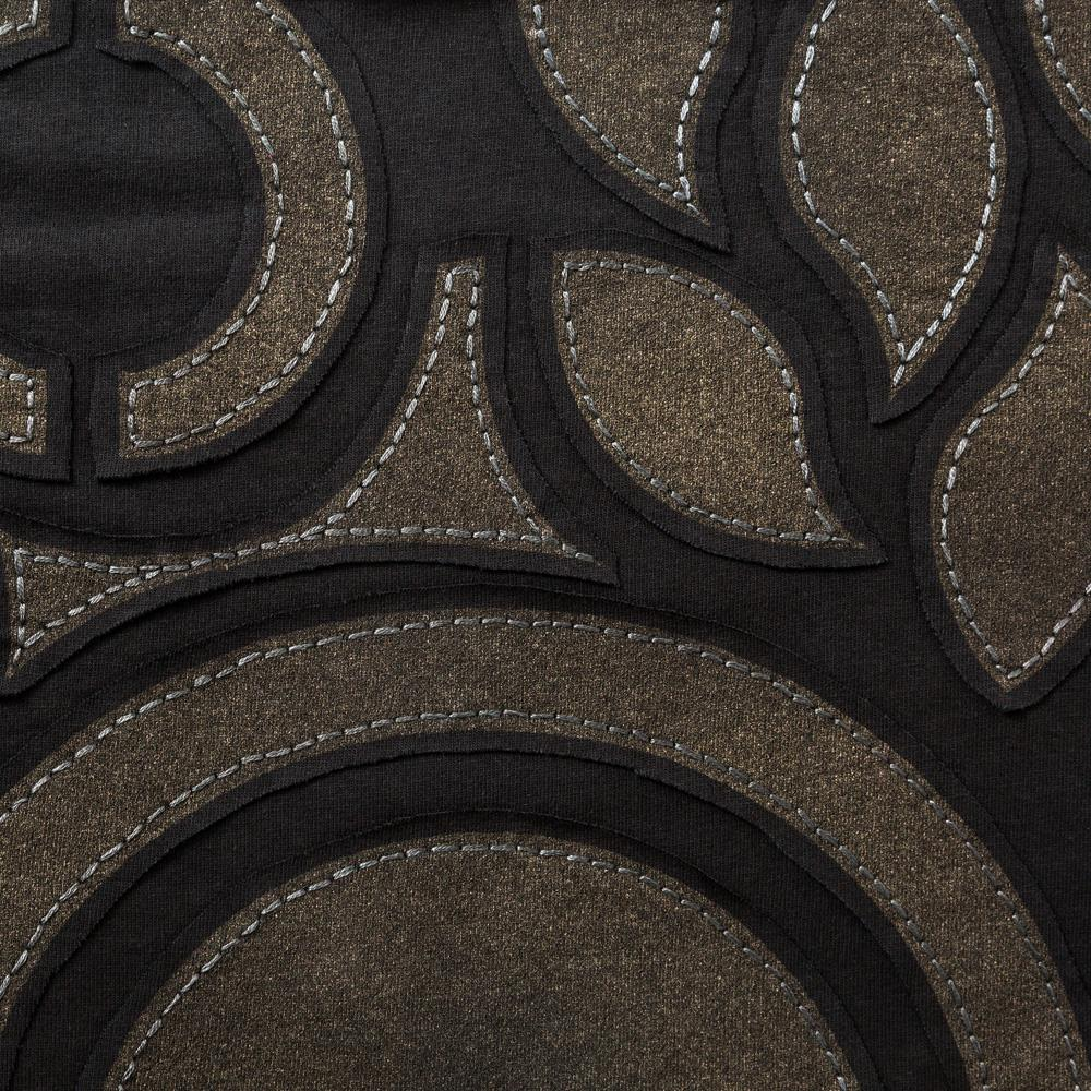 Organic Cotton Embroidery in Black Jersey with Abstract Pattern
