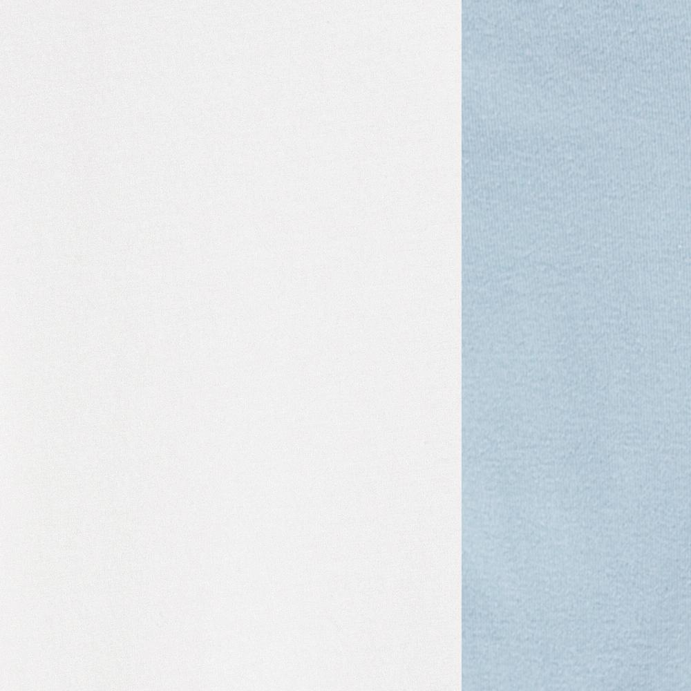 100% Organic Cotton Jersey in White/Baby Blue