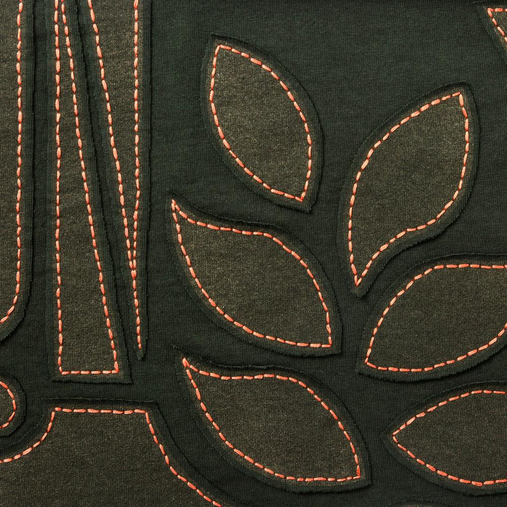 Organic Cotton Backstitch Embroidery in Forest Abstract Stencil Pattern