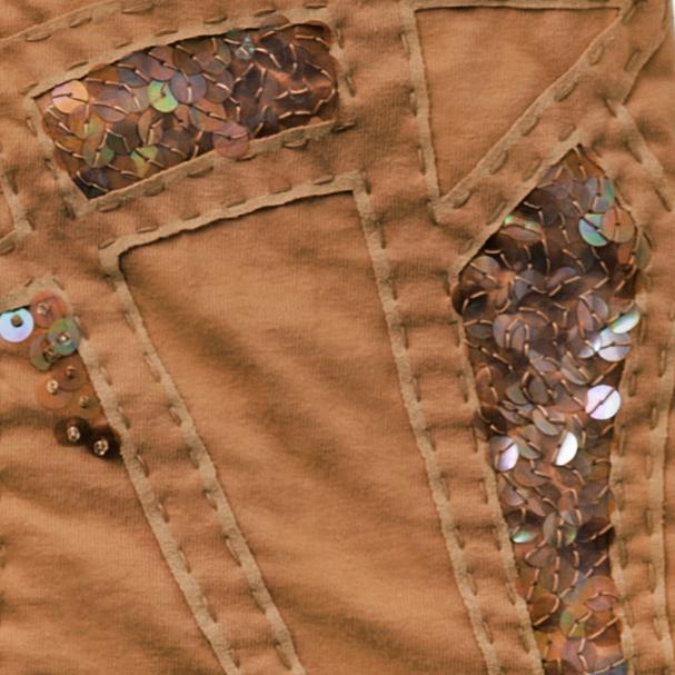 100% Organic Cotton Jersey in Camel hand embroidered and beaded Lee