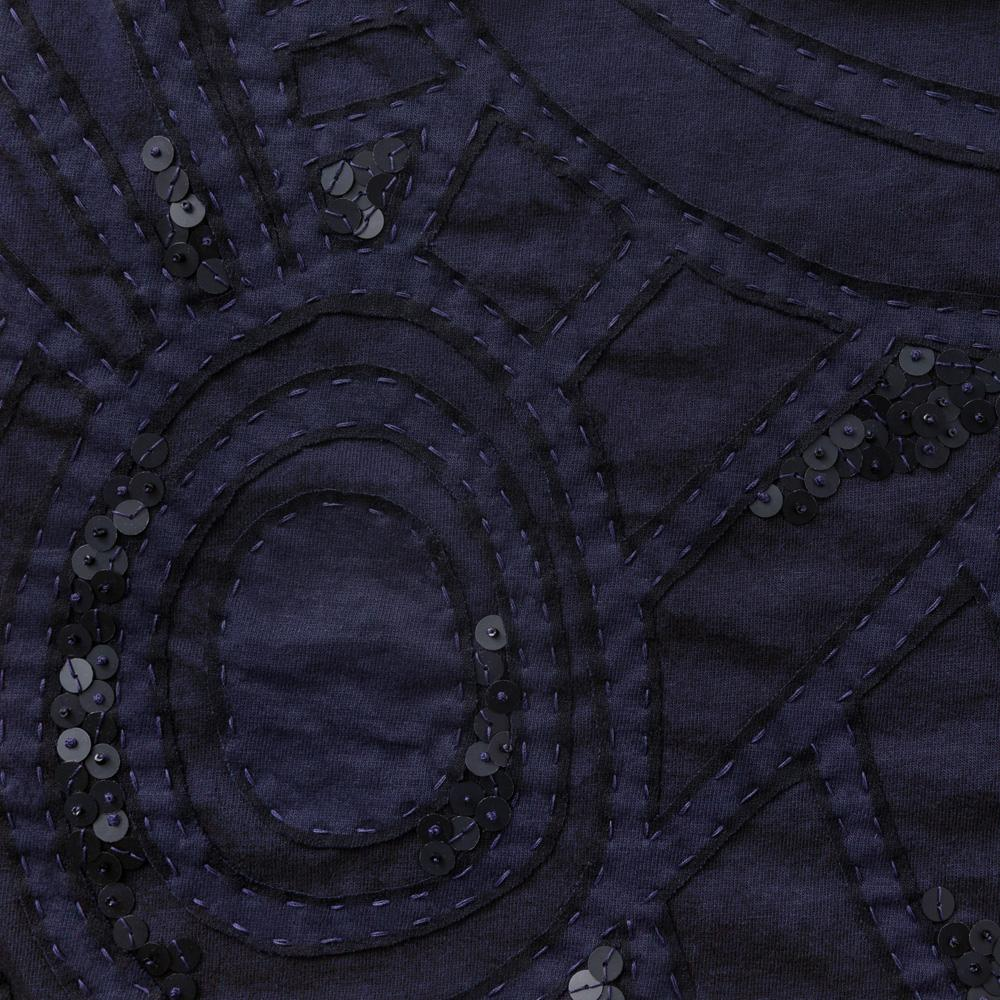 100% Organic Cotton Jersey in Navy Hand-Embroidered and Beaded Lee