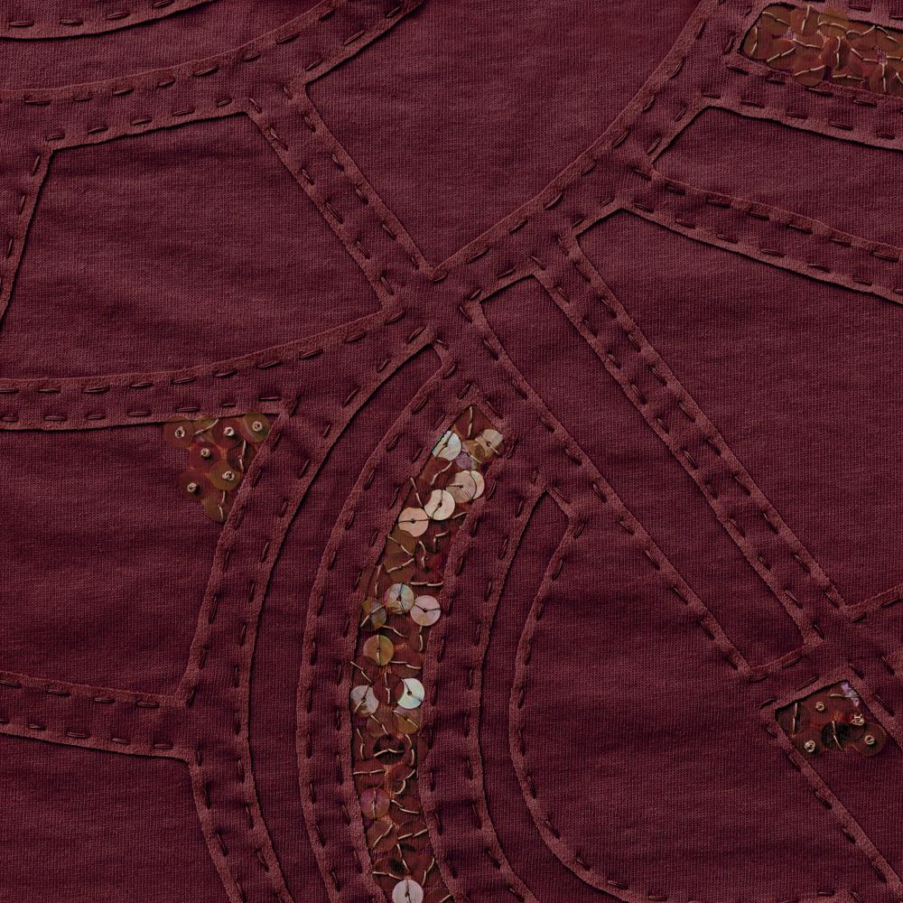100% Organic Cotton Jersey in Plum hand embroidered and beaded Lee
