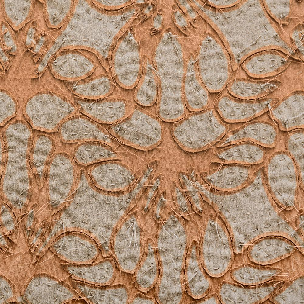 Alabama Chanin 100% Organic Cotton in Camel/Camel with Hand-sewn Lace Applique