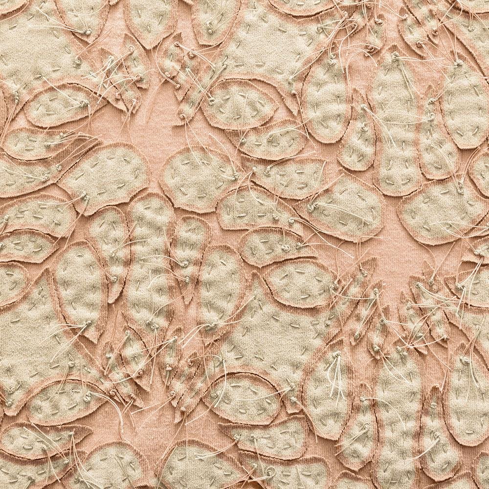 Alabama Chanin 100% Organic Cotton in Vetiver/Vetiver with Hand-sewn Lace Applique