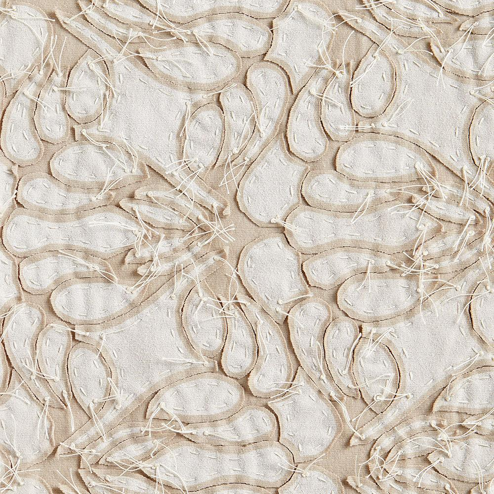 Alabama Chanin 100% Organic Cotton in White/Wax with Hand-sewn Lace Applique