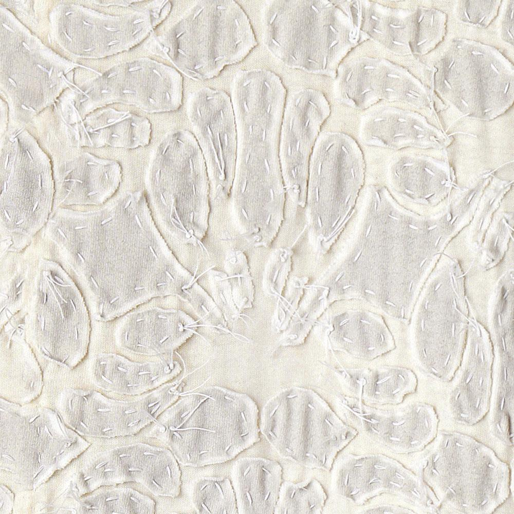Alabama Chanin 100% Organic Cotton in White/Natural with Hand-sewn Lace Applique