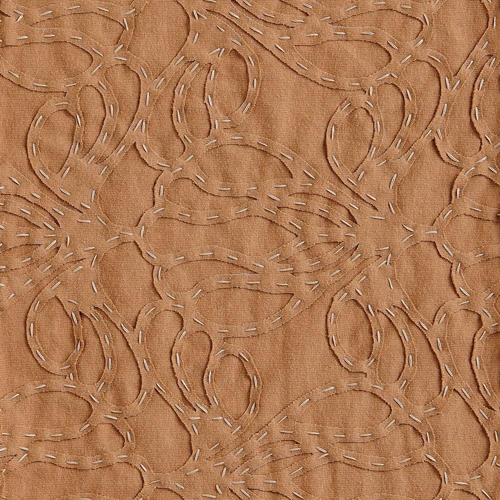 Alabama Chanin 100% Organic Cotton Jersey in Camel with Camel Lace-Inspired Applique