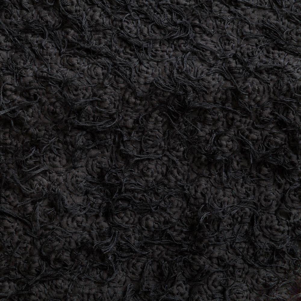 100% Organic Cotton Hand-Embroidered in Black Spiral with Fur