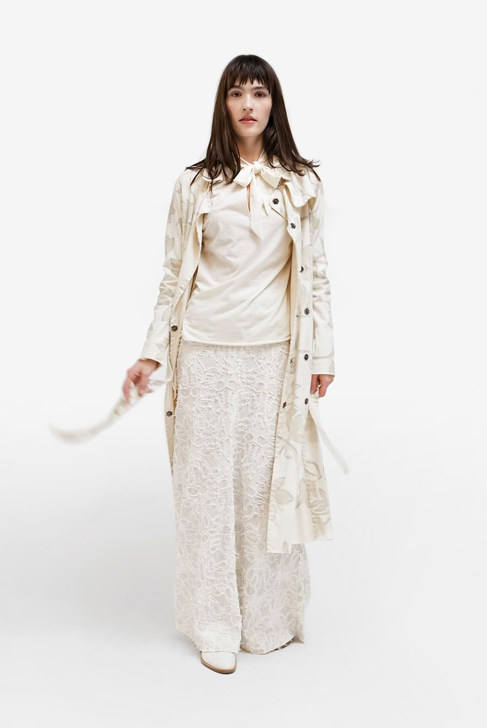 Alabama Chanin Organic Cotton Floral Trench and Lace Skirt on Model