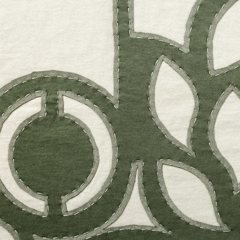 Organic Cotton Embroidered in Abstract Pattern with Verdant and Natural Jersey