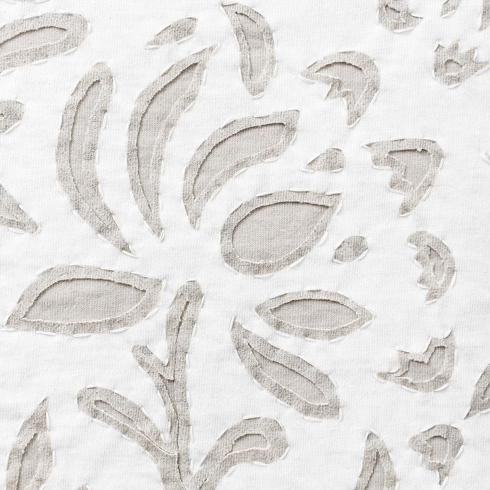 Organic Cotton Jersey Embroidered in the Anna's Garden Stencil Design in White and Sand Jersey