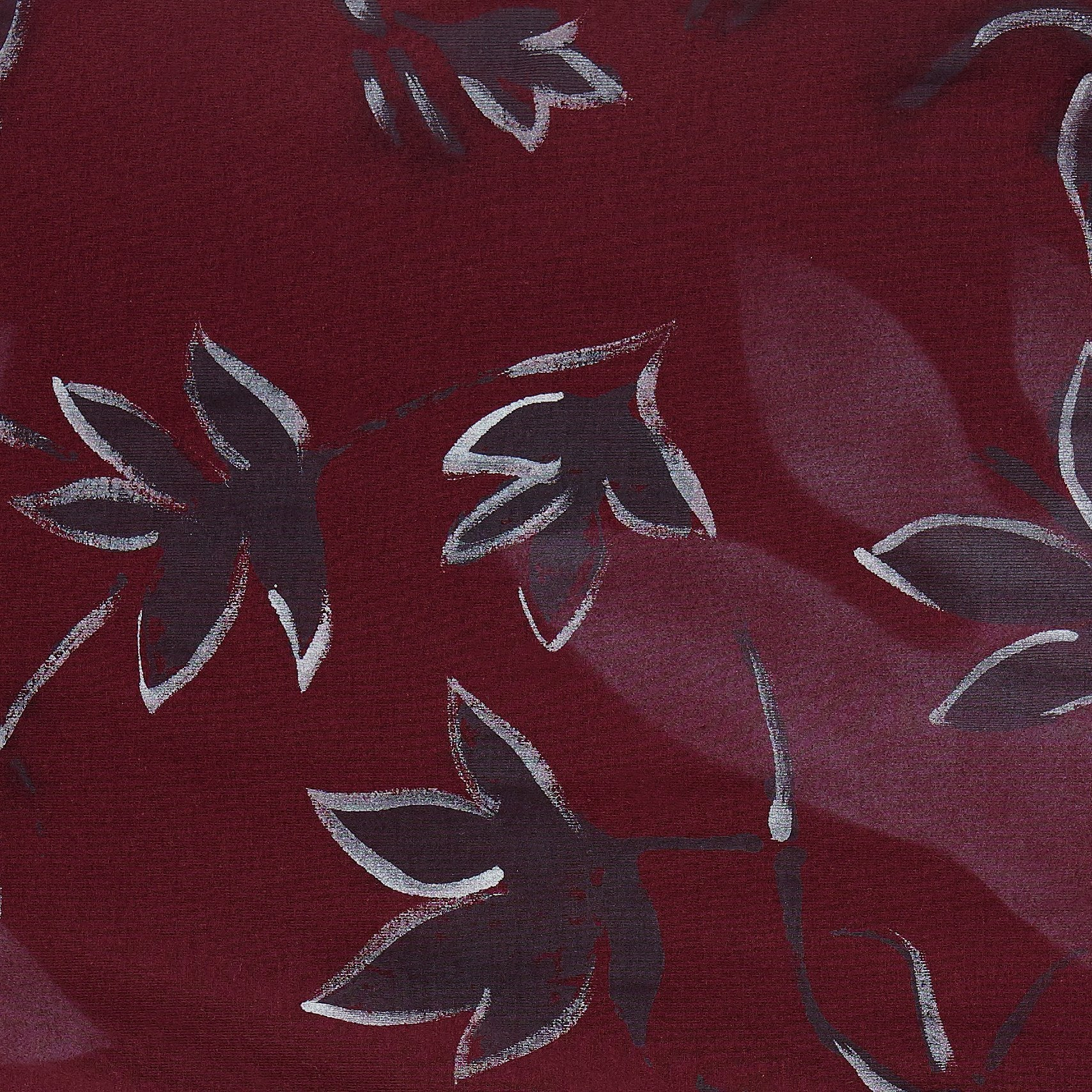 100% Organic Cotton Heavy-weight Rib in Plum Floral Painted Florence design