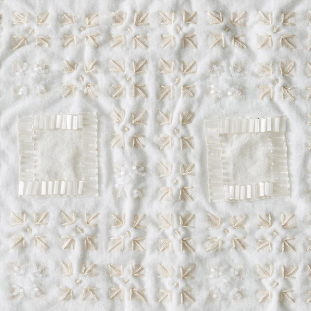 Organic Cotton Jersey Knit in White Applique with the Tartan Stencil