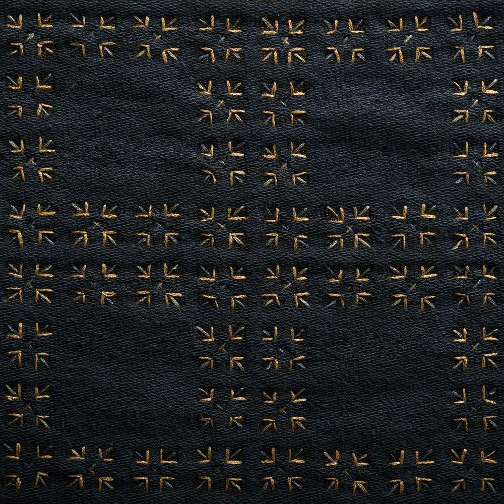 Organic Cotton Jersey Knit in Black Applique with the Tartan Stencil