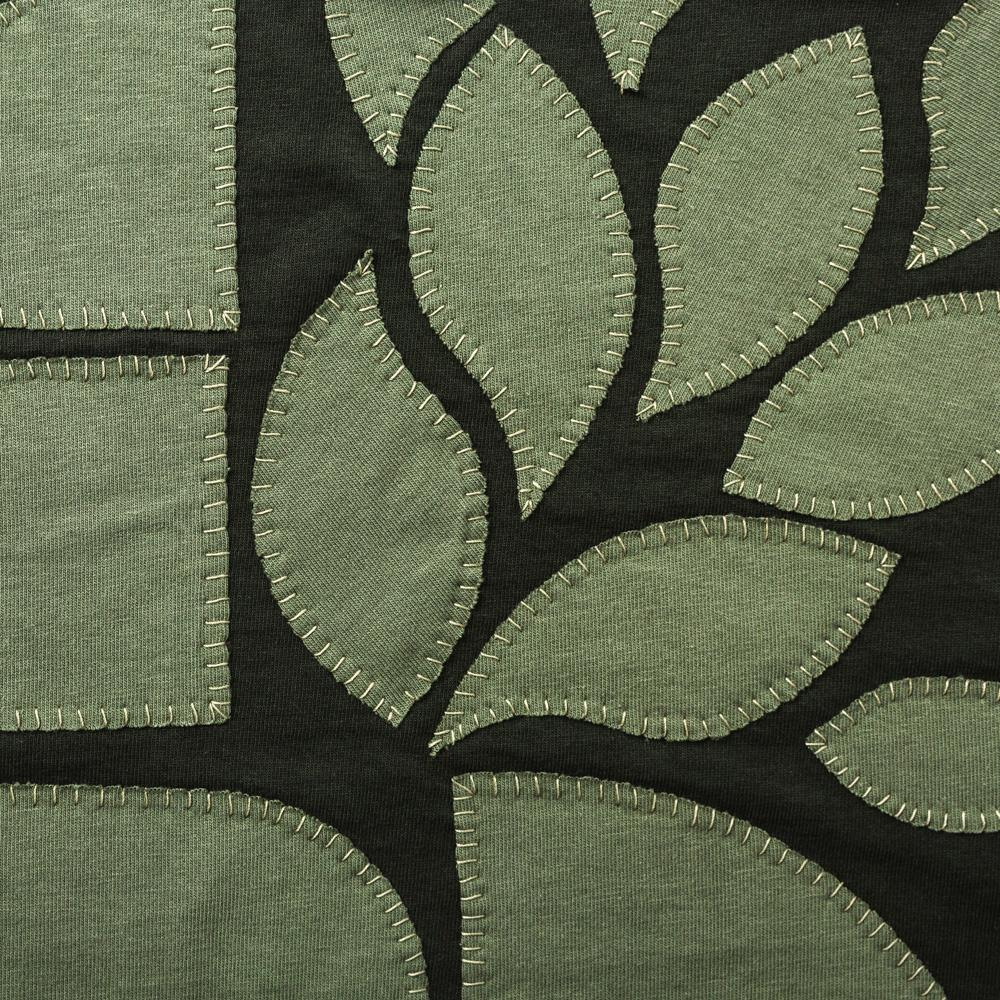 Organic Cotton Jersey Knit in Verdant Applique with the Abstract Stencil