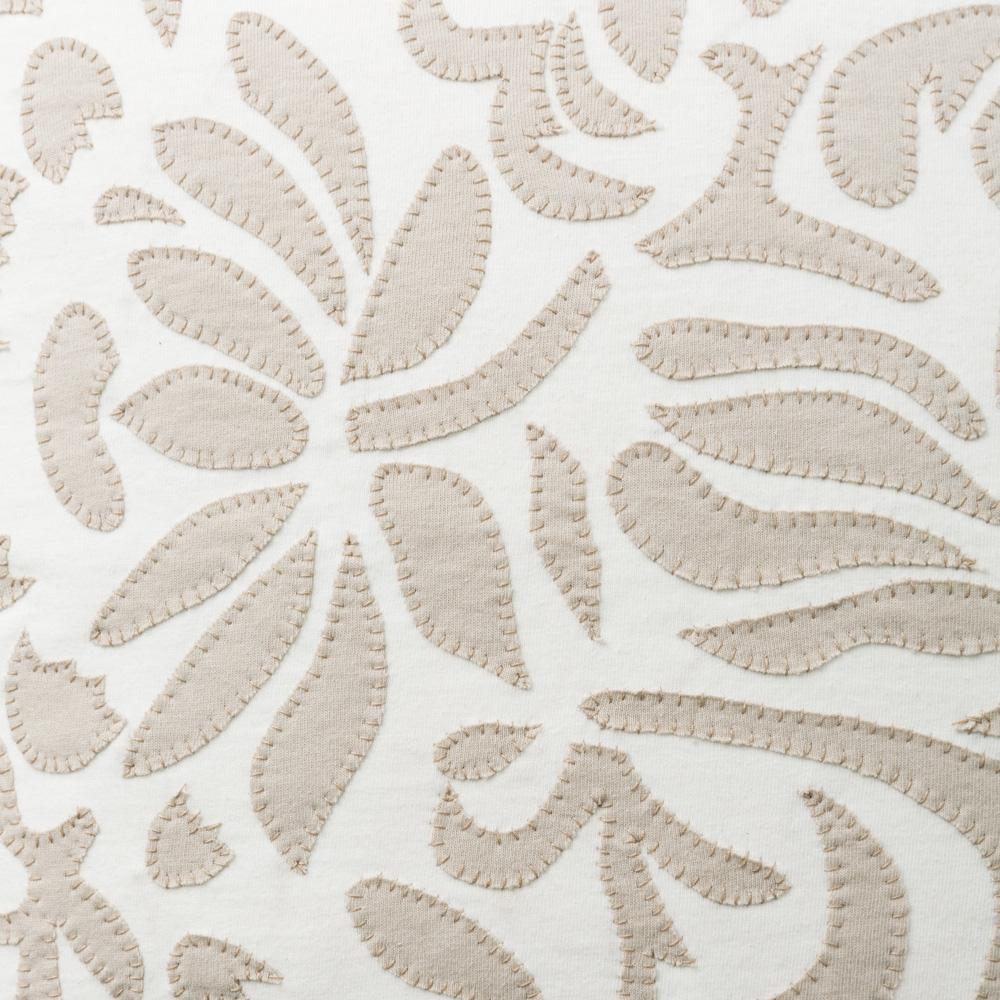 Organic Cotton Jersey Knit in White and Sand Applique with the Anna's Garden Stencil