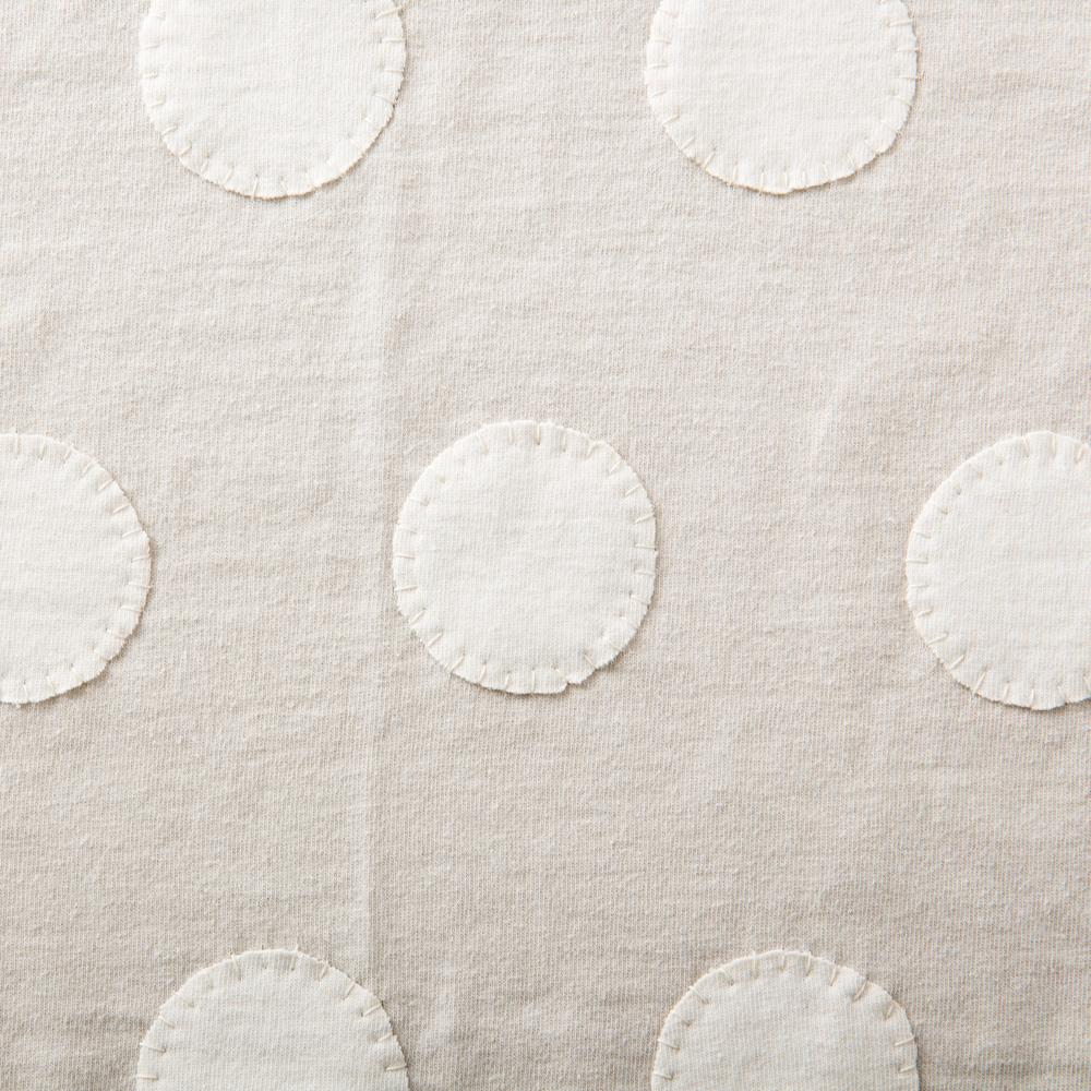 Organic Cotton Jersey Knit in Natural Applique with the Polka Dot Stencil