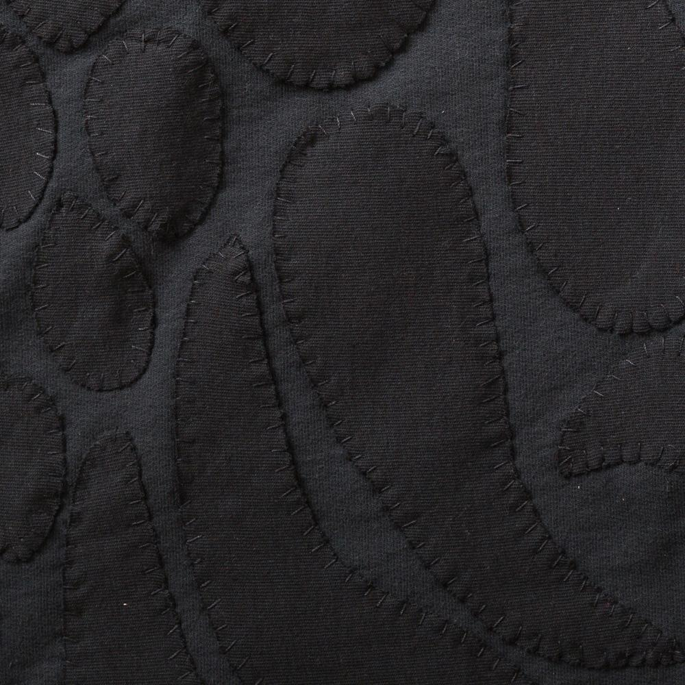 Organic Cotton Jersey Knit in Black Applique with the Marie Stencil