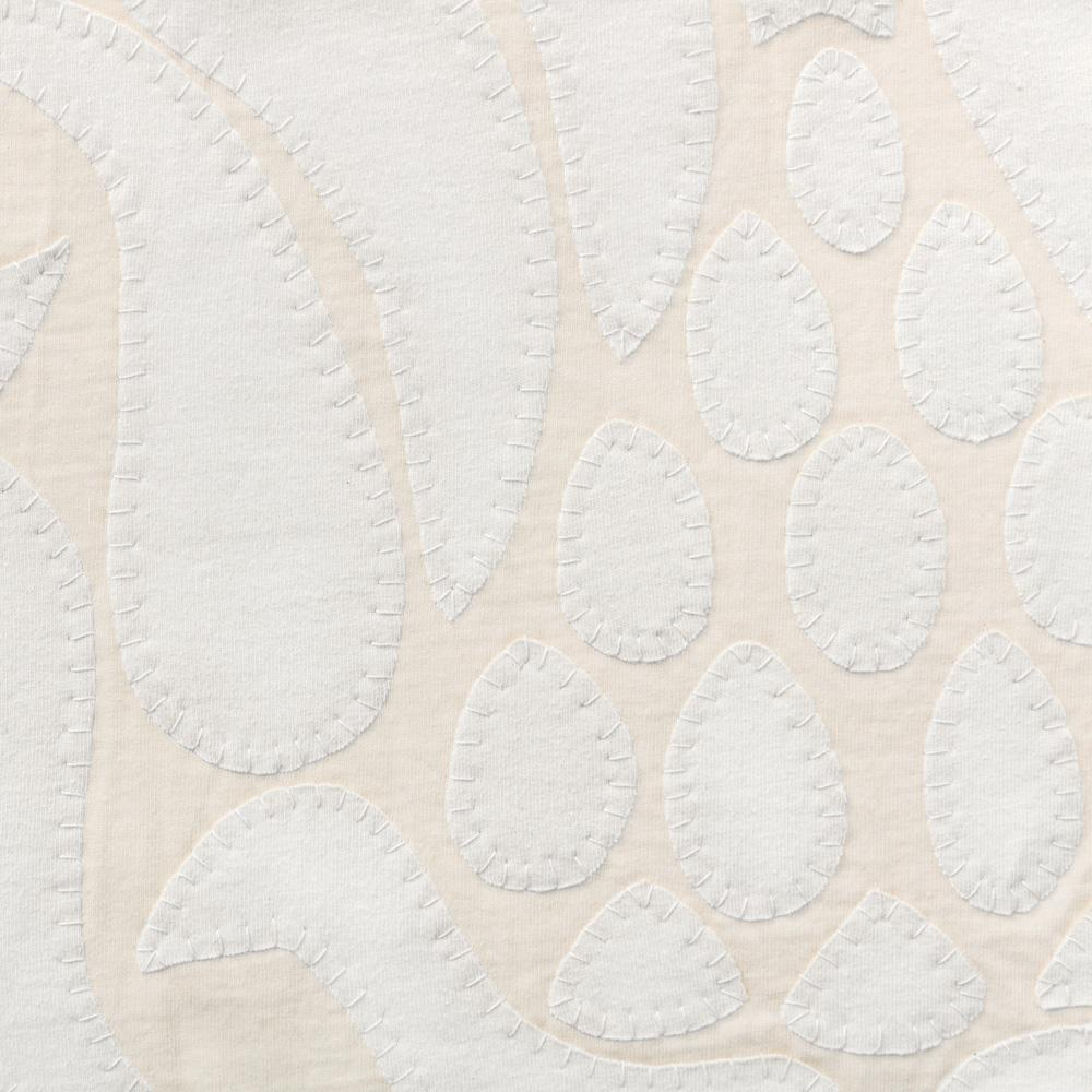 Organic Cotton Jersey Knit in White Applique with the Marie Stencil