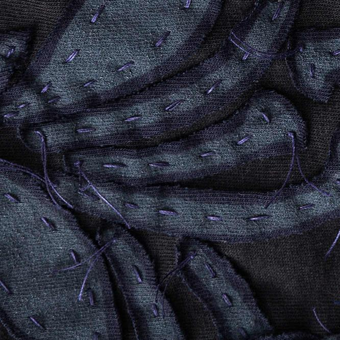 Organic Cotton Reverse Applique Embroidery in Magdalena Pattern with Navy and White
