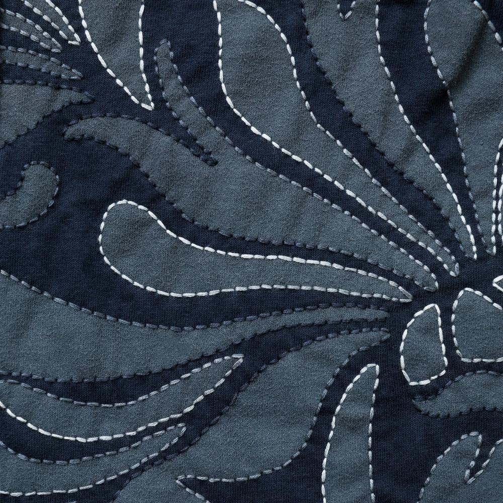 Organic Cotton Embroidery DIY Kit Fabric in Navy with Magdalena Pattern