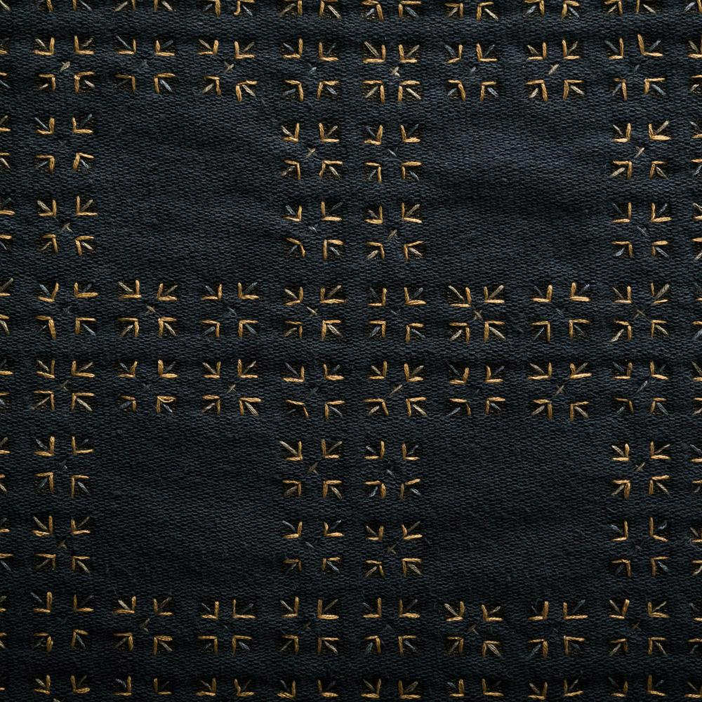 Organic Cotton Embroidery in Black Jersey with Tartan Pattern