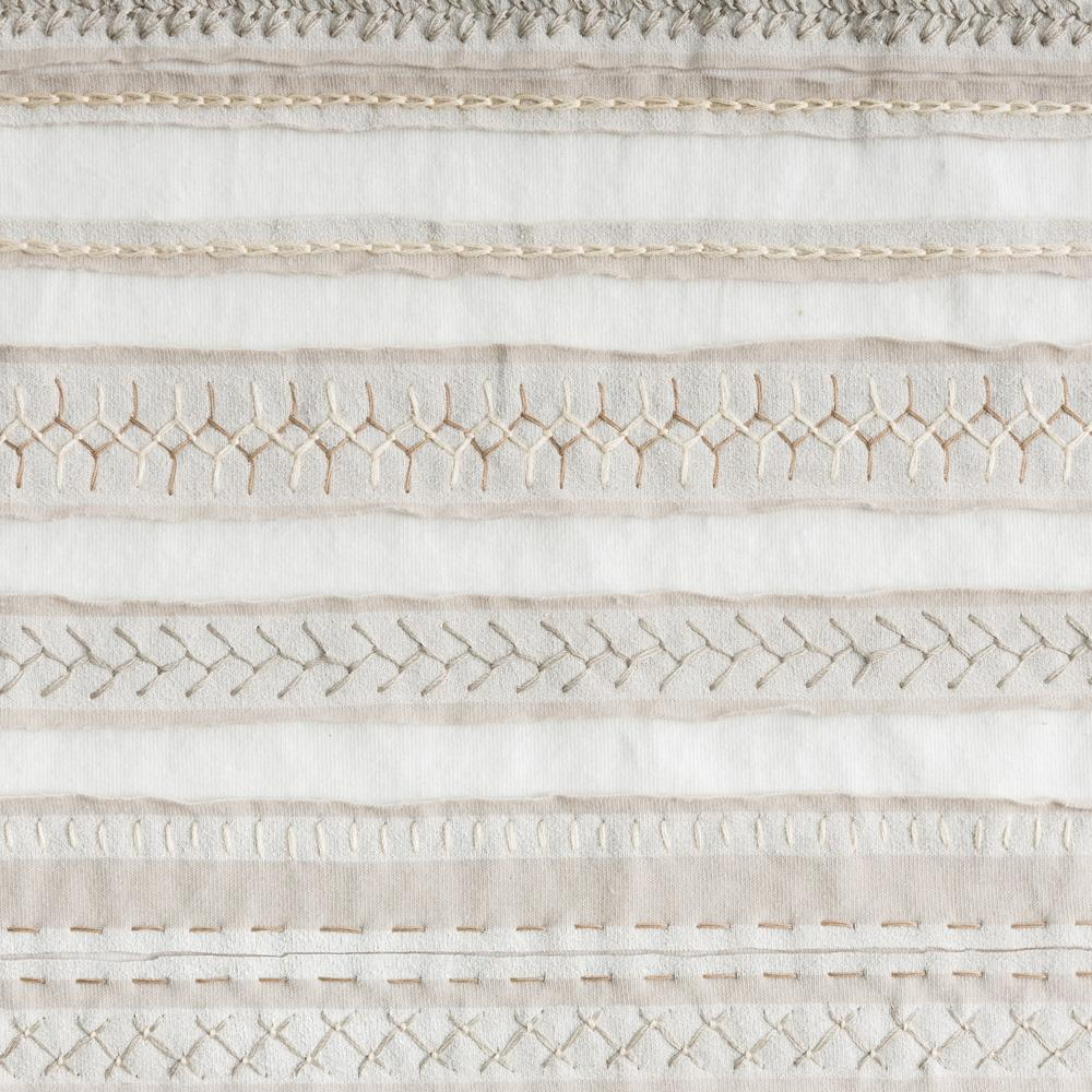 Organic Cotton Embroidery in Sand and White with the Stripe Stencil