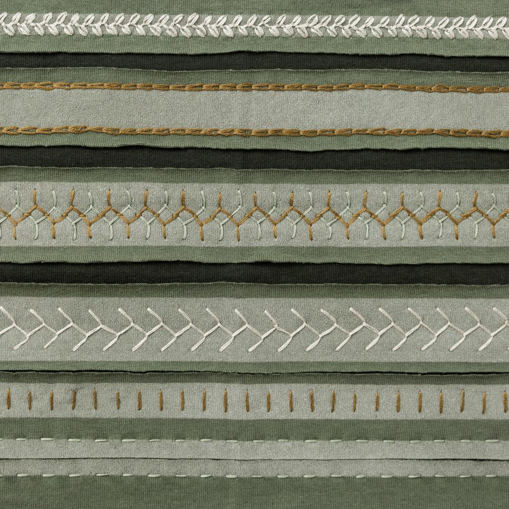 Organic Cotton Embroidery in Verdant and Forest with the Stripe Stencil