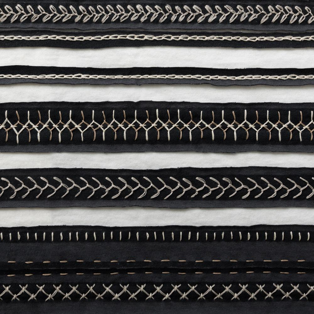 Organic Cotton Embroidery in Black and White with the Stripe Stencil